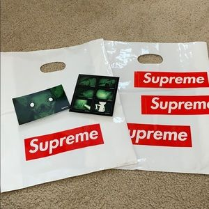 Supreme shopping bag and stickers